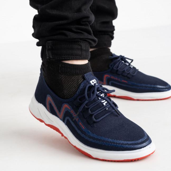 1963-3  кроссовки синие мужские с красным принтом (8 ед. размеры: 41.42/2.43/2.44/2.45) Кроссовки: артикул 1121843
