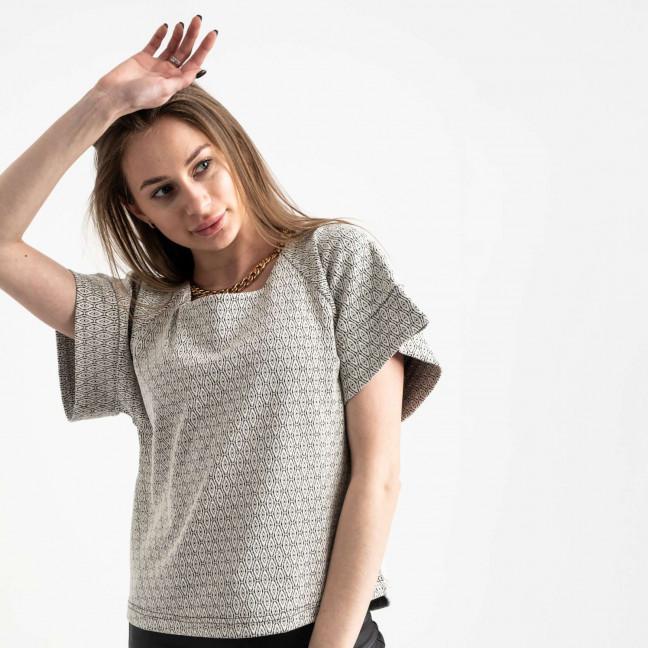 60143 City блузка женская черно-белая трикотажная с узором (40-46, 6 ед.) City: артикул 1116991