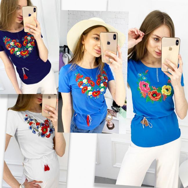 1824 футболка-вышиванка женская микс моделей и цветов (5 ед. размеры: S.M.L.XL.2XL) Футболка: артикул 1120652