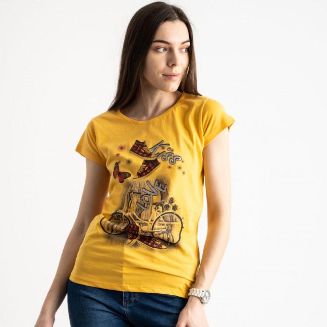 2586-6 желтая футболка женская с принтом (4 ед. размеры: S.M.L.XL) Футболка: артикул 1119228