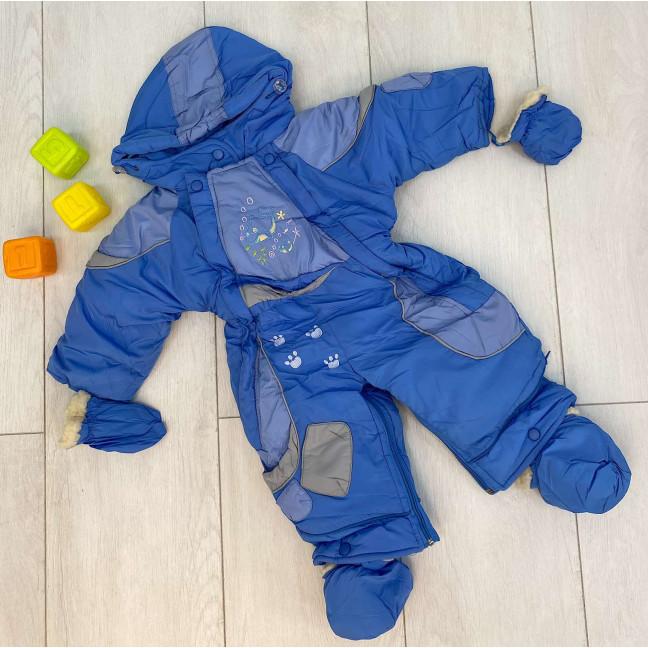 0162-21 Super Clever голубой комбинезон-трансформер на овчине на мальчика от 1 года до 1,5 лет( 3 ед размеры : 80/2.86) Super Clever: артикул 1123606