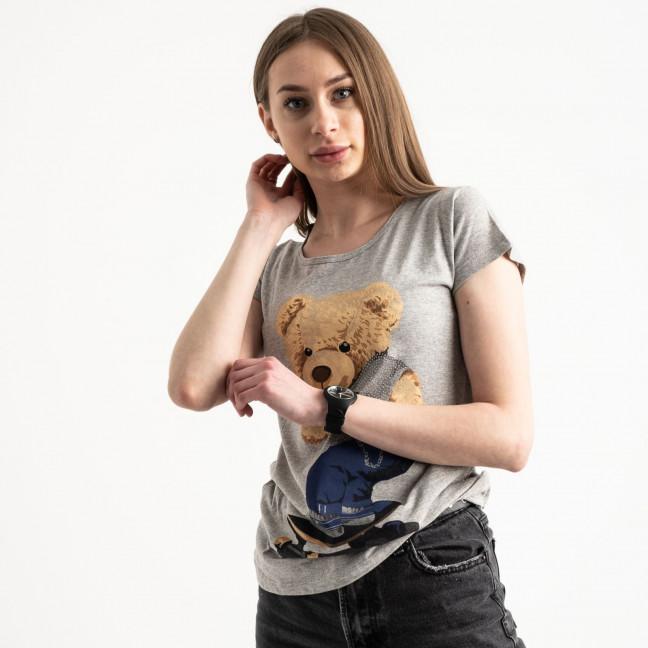 2585-5 серая футболка женская с принтом (4 ед. размеры: S.M.L.XL) Футболка: артикул 1119226