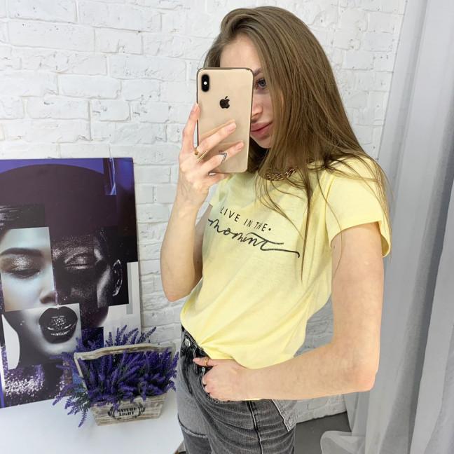 2596-6 желтая футболка женская с принтом (4 ед. размеры: S.M.L.XL) Футболка: артикул 1121772