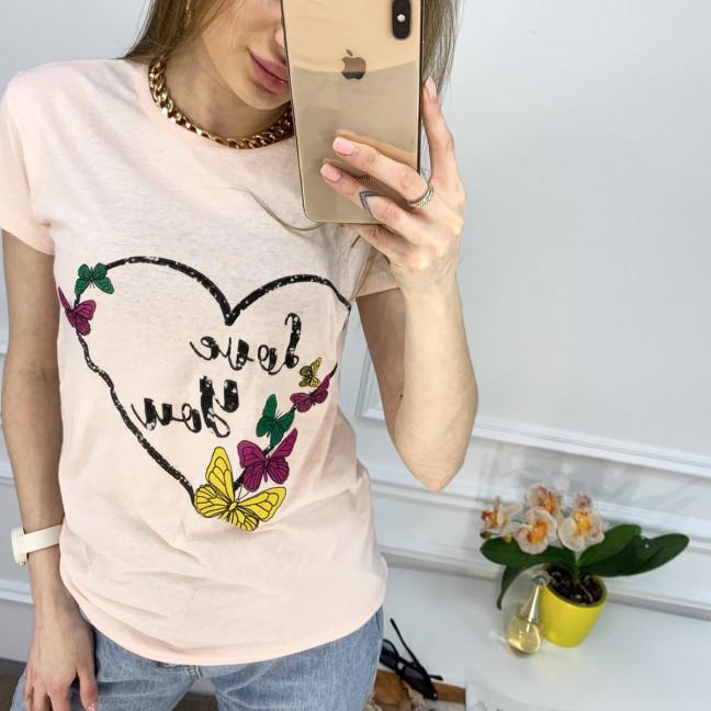 2500-2 Akkaya розовая футболка женская с принтом стрейчевая (4 ед. размеры: S.M.L.XL) Akkaya: артикул 1119806