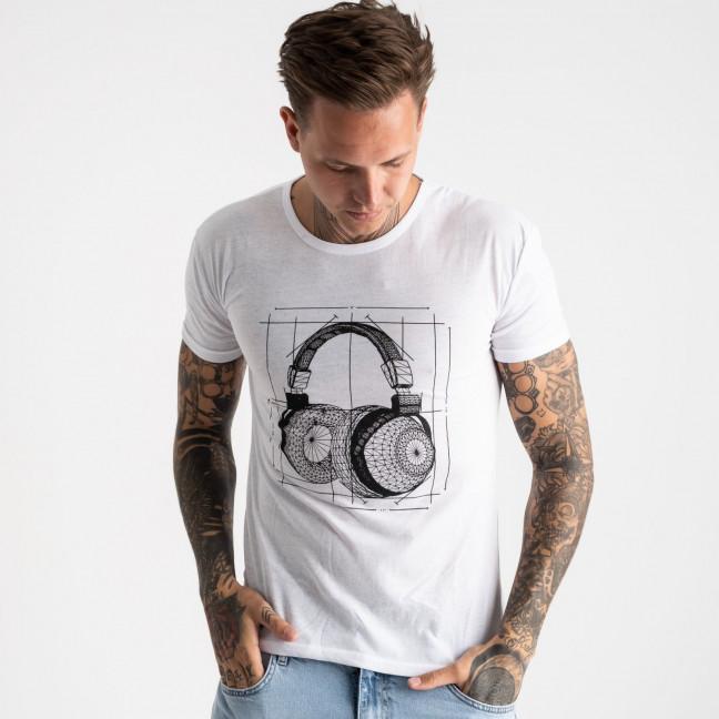 2627-10 белая футболка мужская с принтом (4 ед. размеры: M.L.XL.2XL) Футболка: артикул 1121093