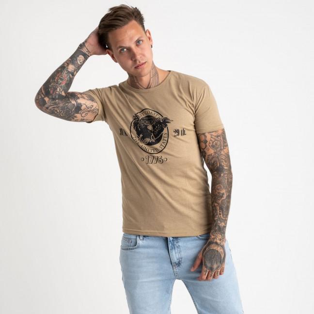 2607-11 бежевая футболка мужская с принтом (4 ед. размеры: M.L.XL.2XL) Футболка: артикул 1120934