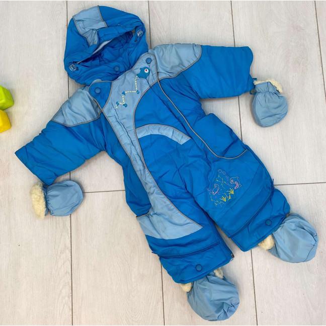 0159-2 Super Clever синий комбинезон-трансформер на овчине на мальчика от 6 мес до 1,5 года ( 4 ед размеры: 68.74.80.86) Super Clever: артикул 1123592