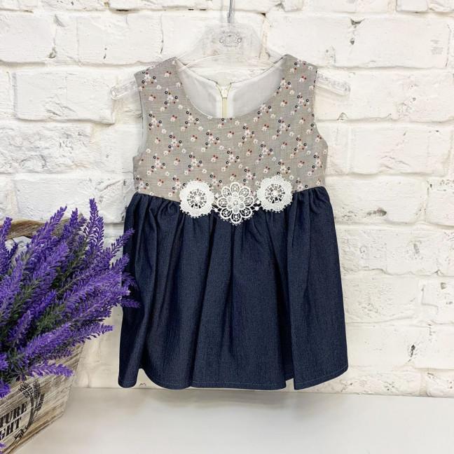 1049 платье хлопковое темно-синее на девочку 6-18 месяцев (3 ед. размеры: 74.80.86) Маленьке сонечко: артикул 1121667