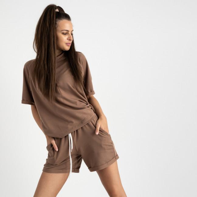 1445-12 Mishely мокко женский спортивный костюм с шортами (4 ед. размеры: S.M.L.XL) Mishely: артикул 1123183