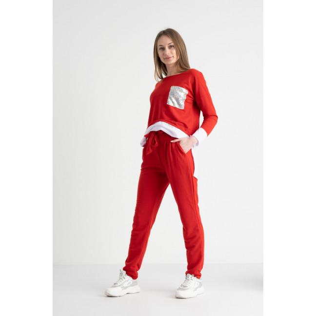 0333-3 красный костюм женский полубатальный из двунитки ( 4 ед. размеры: 46.48.50.52) Костюм: артикул 1117613