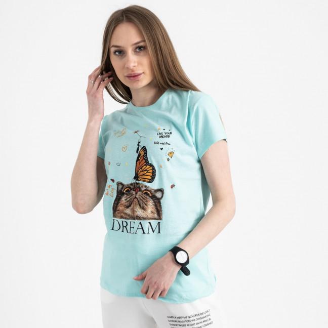 2516-4 Akkaya бирюзовая футболка женская с принтом стрейчевая (4 ед. размеры: S.M.L.XL) Akkaya: артикул 1119724