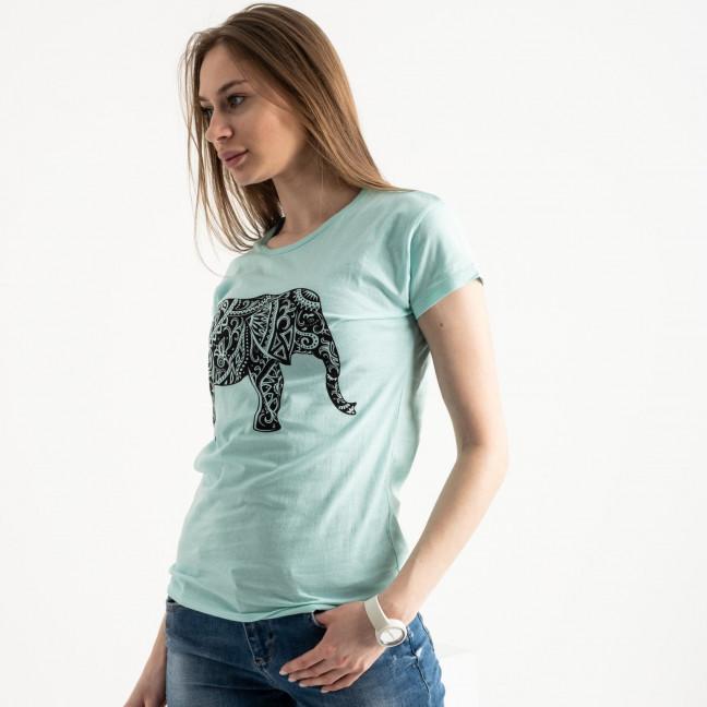 2575-4 зеленая футболка женская с принтом (3 ед. размеры: S.M.L) Футболка: артикул 1119169