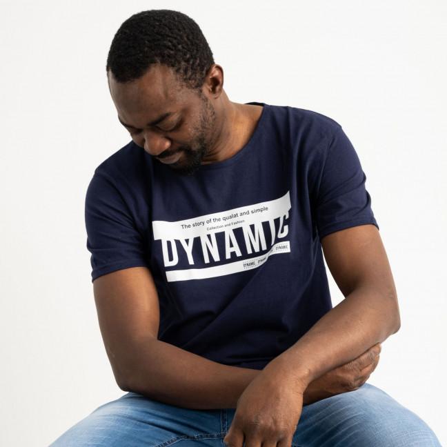2713 темно-синяя футболка батальная мужская с принтом (4 ед. размеры: XL.2XL.3XL.4XL) Футболка: артикул 1118894