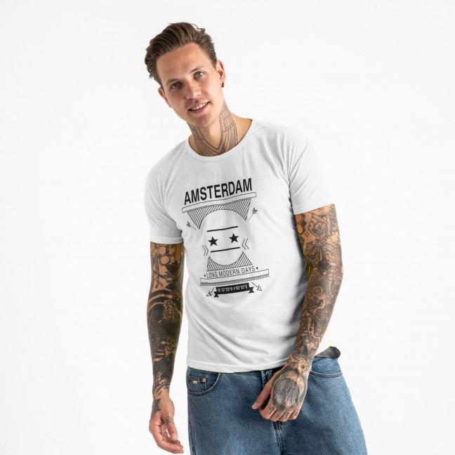 2604-10 белая футболка мужская с принтом (4 ед. размеры: M.L.XL.2XL) Футболка: артикул 1120910