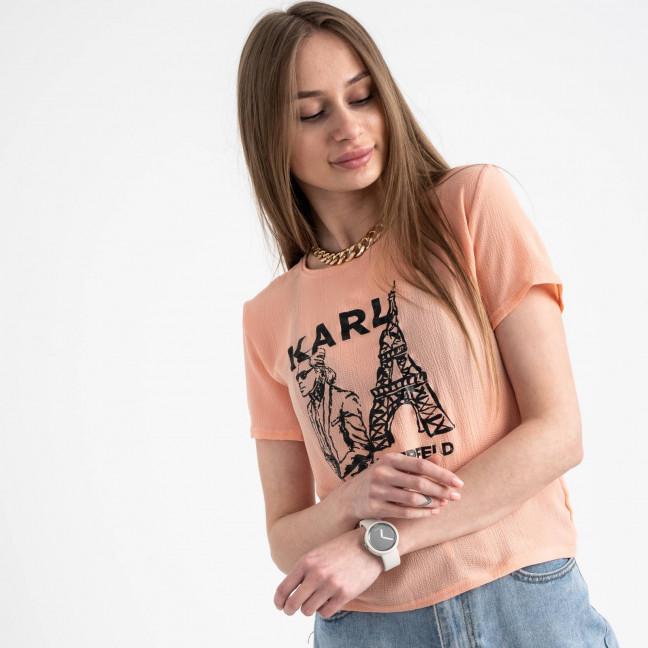 2056-7 футболка персиковая женская с принтом (5 ед. размеры: 42.44.46.48.50) Футболка: артикул 1122376