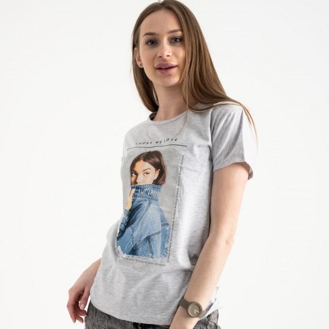 2501-5 Akkaya серая футболка женская с принтом стрейчевая (4 ед. размеры: S.M.L.XL) Akkaya: артикул 1119814