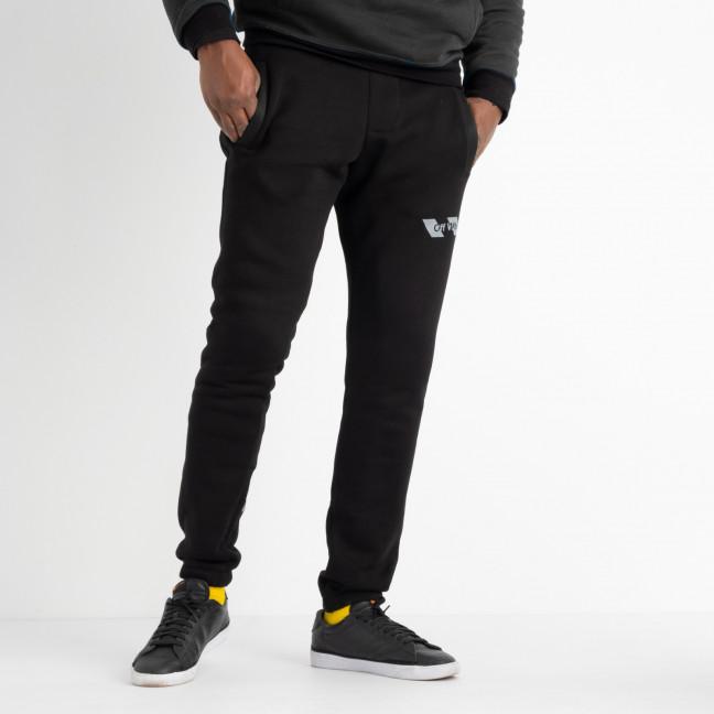 1605 черные брюки мужские спортивные на флисе  (4 ед. размеры: M.L.XL.XXL)#партнер15 Брюки: артикул 1117417