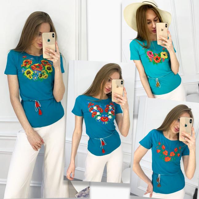 1821 бирюзовая футболка-вышиванка женская микс моделей (5 ед. размеры: S.M.L.XL.2XL) Футболка: артикул 1120650