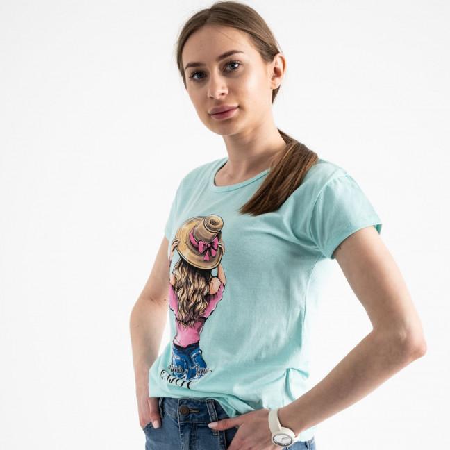2576-4 бирюзовая футболка женская с принтом (3 ед. размеры: S.M.L) Футболка: артикул 1119176