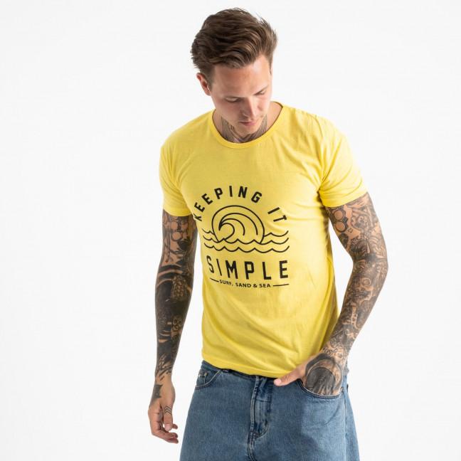 2605-6 желтая футболка мужская с принтом (4 ед. размеры: M.L.XL.2XL) Футболка: артикул 1120919