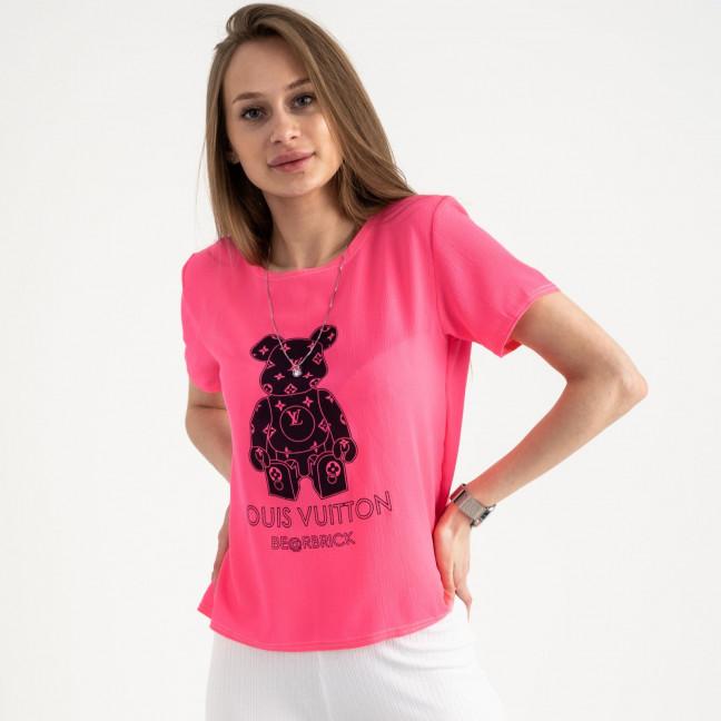 2021-2 футболка розовая женская с принтом (5 ед. размеры: 42.44.46.48.50)  Футболка: артикул 1122191