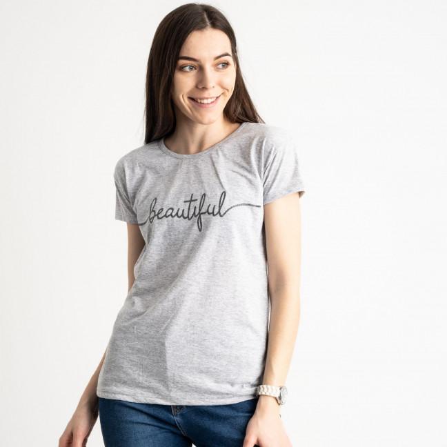 2574-5 серая футболка женская с принтом (3 ед. размеры: S.M.L) Футболка: артикул 1119162