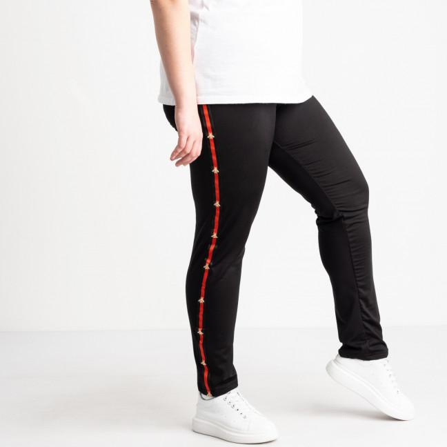 0031 спортивные штаны батальные черные с красными лампасами стрейчевые (5 ед. размеры: 50.52.54.56.58) Спортивные штаны: артикул 1120697