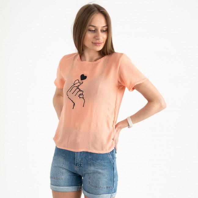 2023-7 футболка персиковая женская с принтом (5 ед. размеры: 42.44.46.48.50) Футболка: артикул 1122405