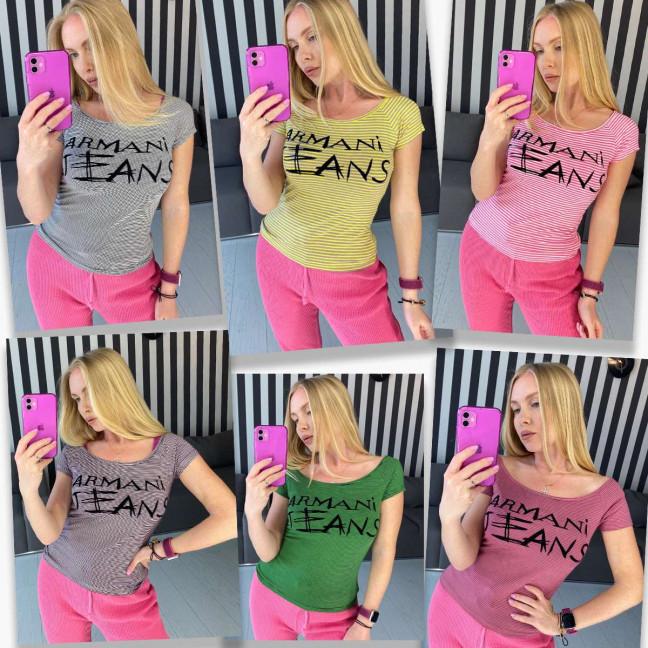 2458-99 футболка  женская стрейчевая  микс 5-ти цветов без выбора цветов (5 ед. размеры: универсал 44-48) Футболка: артикул 1122145