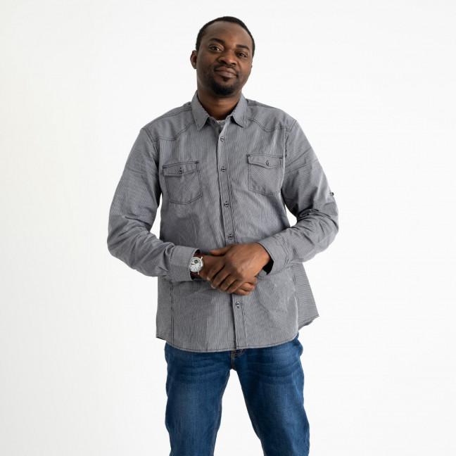 1995-1 Bertigo серая рубашка мужская в полоску (3 ед. размеры: M.L.2XL) Bertigo: артикул 1120467