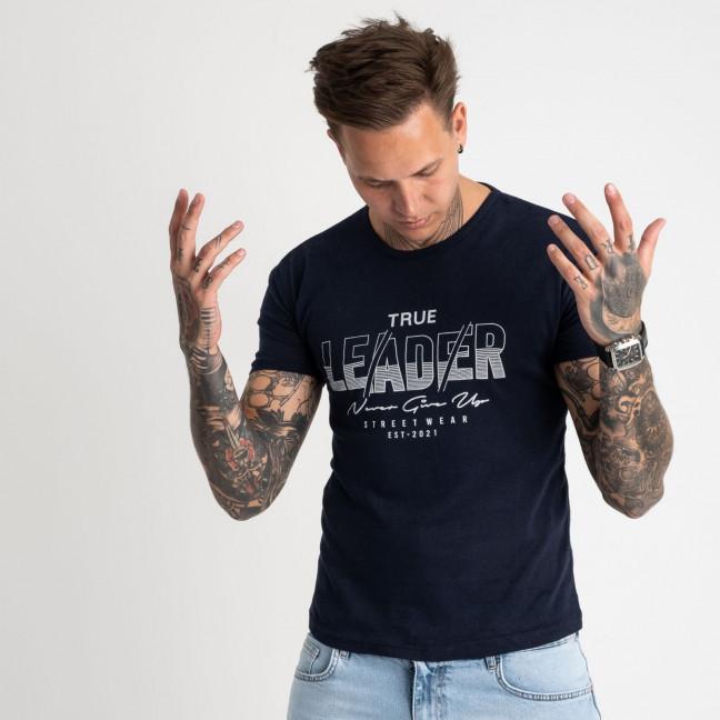 2614-14 темно-синяя футболка мужская с принтом (4 ед. размеры: M.L.XL.2XL) Футболка: артикул 1121005