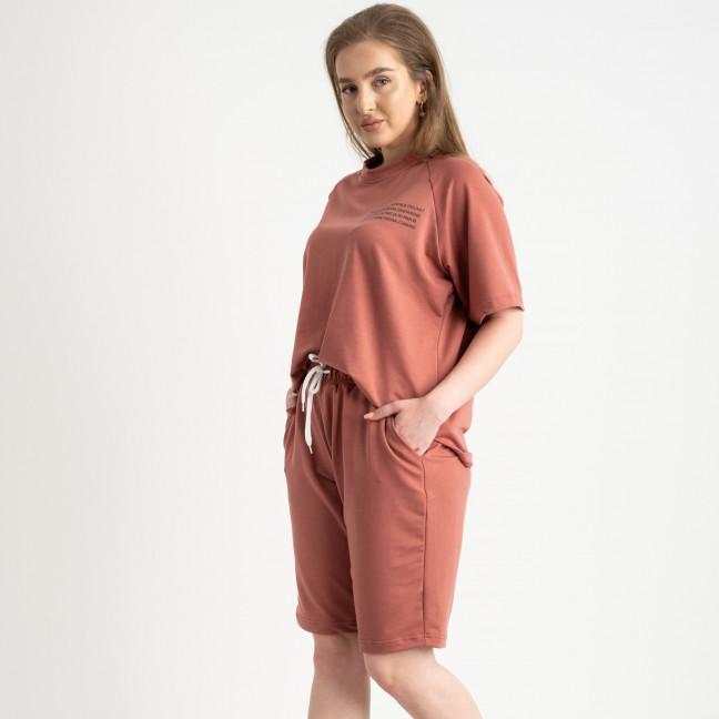 2215-5 Mishely терракотовый женский спортивный костюм батальный из двунитки  (4 ед. размеры: 50.52.54.56) Mishely: артикул 1122660