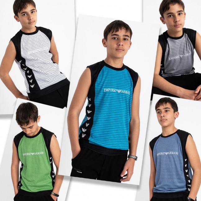 2087 футболка-безрукавка подростковая на мальчика 10-12 лет микс 5-ти цветов (10 ед. размеры: S/3.M/3.L/4) Футболка: артикул 1120397