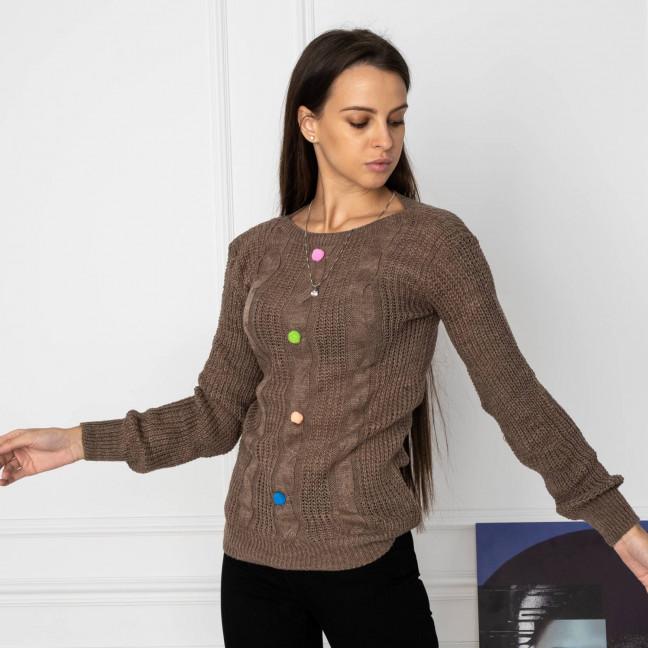 5109-6 свитер женский коричневый вязанный (3 ед. размеры: универсал 42-46) Свитер: артикул 1123650