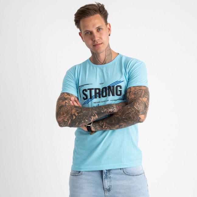 2612-13 светло-голубая футболка мужская с принтом (4 ед. размеры: M.L.XL.2XL) Футболка: артикул 1120965