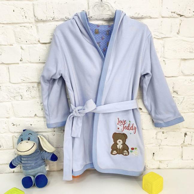 0351-13 халат голубой на девочку 1-3 года  (3 ед. размеры: 74.86.98) Маленьке сонечко: артикул 1121822