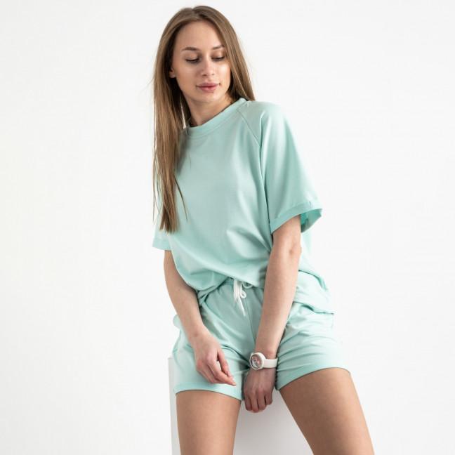 1445-2 Mishely мятный женский спортивный костюм с шортами(4 ед. размеры: S.M.L.XL) Mishely: артикул 1121754