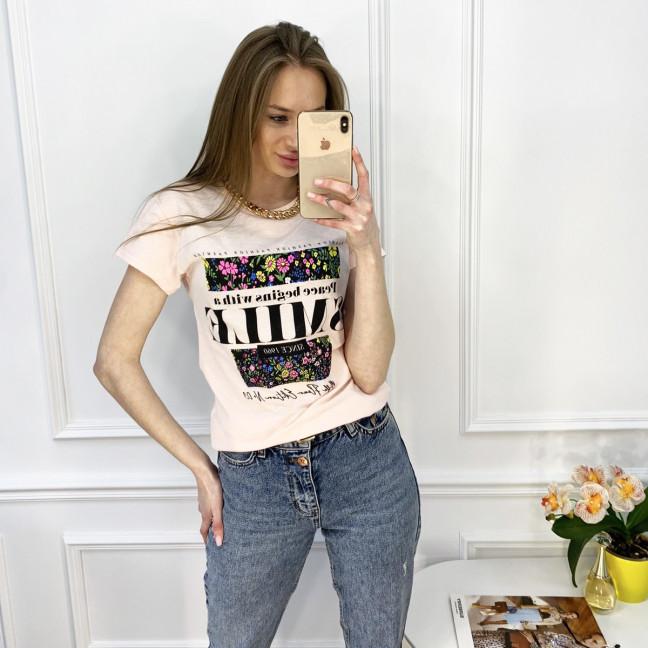 2517-2 Akkaya розовая футболка женская с принтом стрейчевая (4 ед. размеры: S.M.L.XL) Akkaya: артикул 1119795