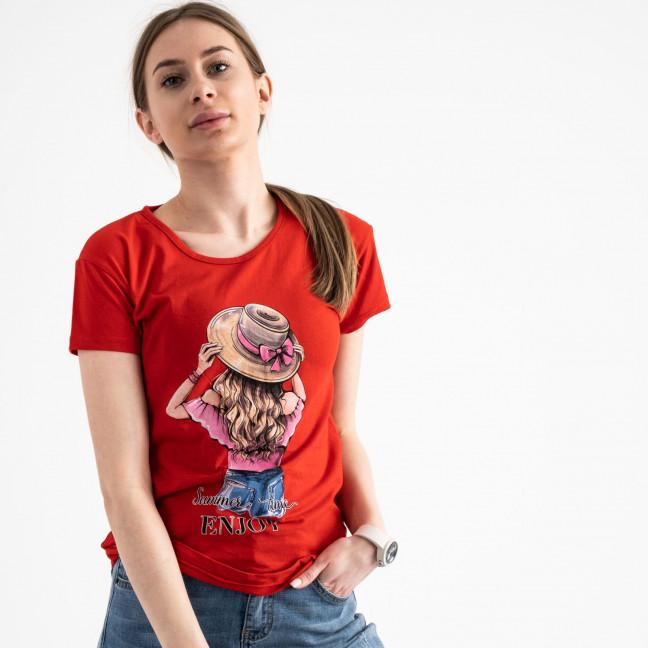 2576-3 красная футболка женская с принтом (3 ед. размеры: S.M.L) Футболка: артикул 1119174