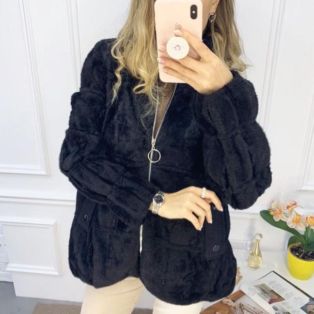 1428-1 черная куртка женская из альпаки без капюшона (1 ед. размер: универсал 42-46) Куртка: артикул 1120073
