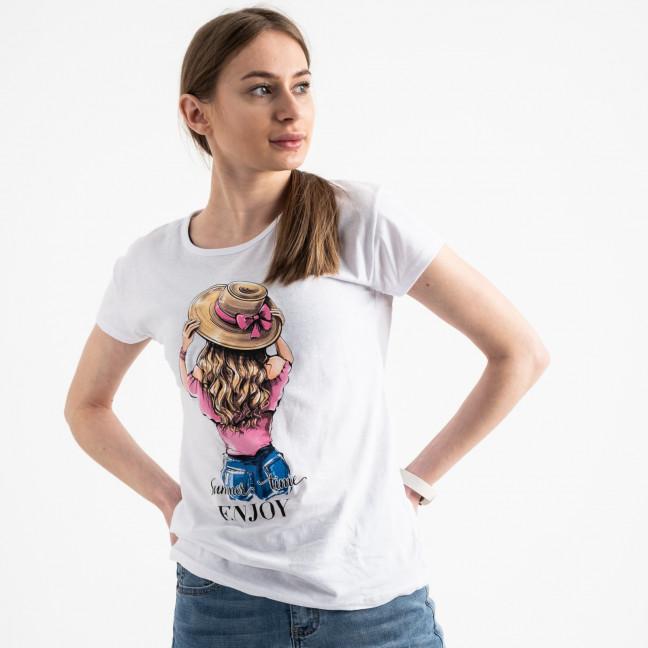 2576-10 белая футболка женская с принтом (3 ед. размеры: S.M.L) Футболка: артикул 1119175
