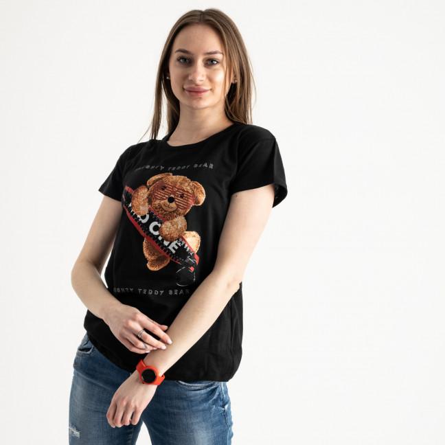 2570-1 черная футболка женская с принтом (3 ед. размеры: S.M.L) Футболка: артикул 1119144