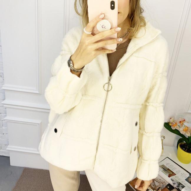 1428-10 белая куртка женская из альпаки без капюшона (1 ед. размер: универсал 42-46) Куртка: артикул 1120074