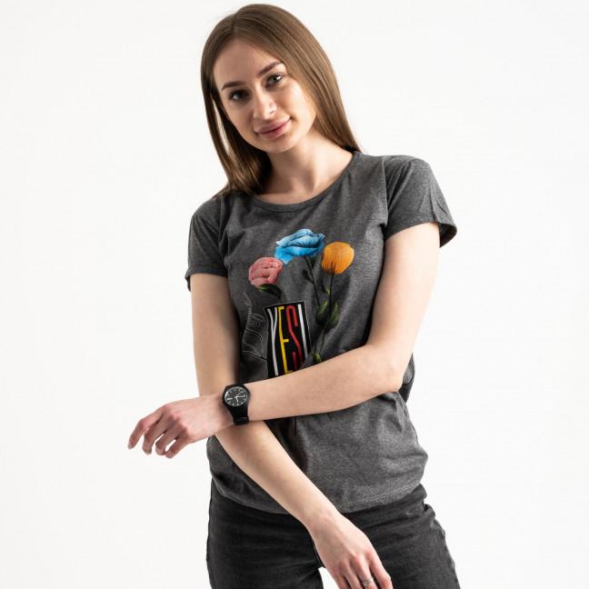 2582-7 темно-серая футболка женская с принтом (3 ед. размеры: S.M.L) Футболка: артикул 1119213