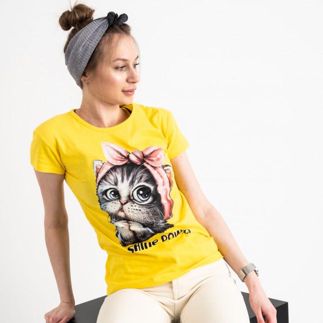 2578-6 желтая футболка женская с принтом (3 ед. размеры: S.M.L) Футболка: артикул 1119188