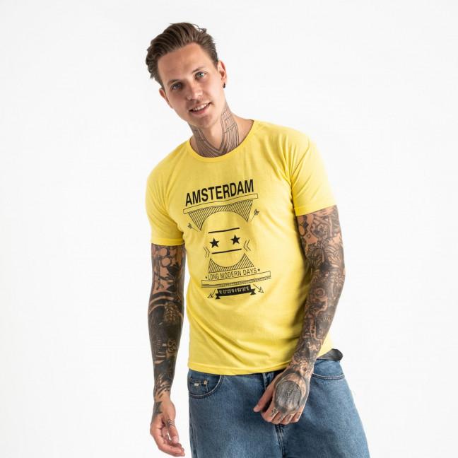 2604-6 желтая футболка мужская с принтом (4 ед. размеры: M.L.XL.2XL) Футболка: артикул 1120912