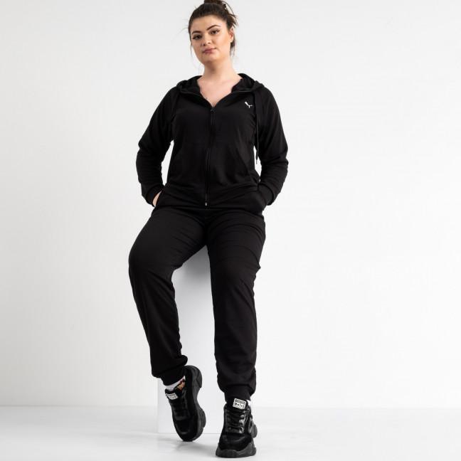 15111-4 черный женский спортивный костюм батальный из двунитки (4 ед. размеры: 50.52.54.56) Спортивный костюм: артикул 1118244