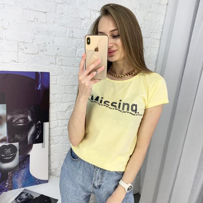 2401-6 желтая футболка женская с принтом (4 ед. размеры: S.M.L.XL) Футболка: артикул 1122365