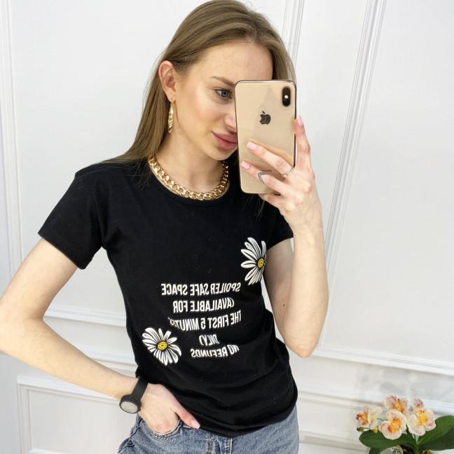 2519-1 Akkaya черная футболка женская с принтом стрейчевая (4 ед. размеры: S.M.L.XL) Akkaya: артикул 1119769