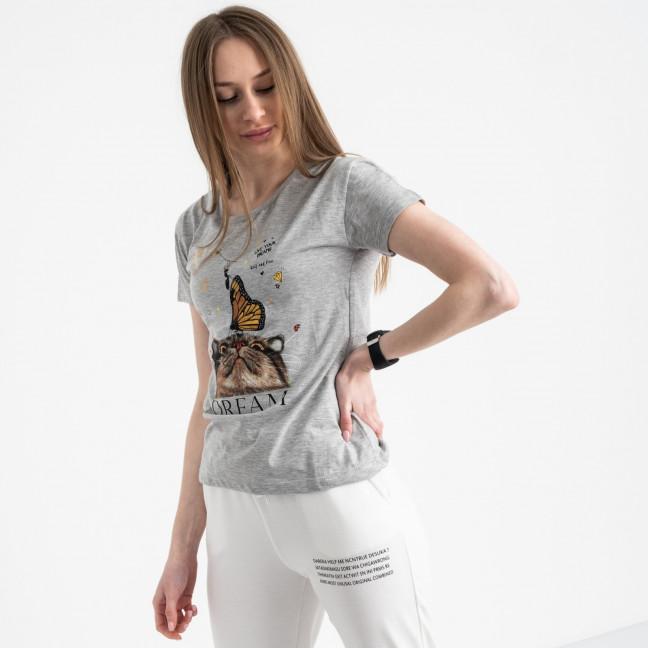 2516-5 Akkaya серая футболка женская с принтом стрейчевая (4 ед. размеры: S.M.L.XL) Akkaya: артикул 1119725